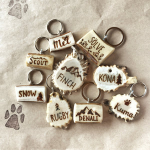 Antler Dog Name Tag with Custom Design