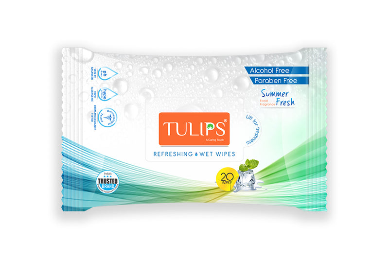 TULIPS - Buy Tulips Refreshing Wet Wipes Summer Fresh 20 Wipes Online in India.
