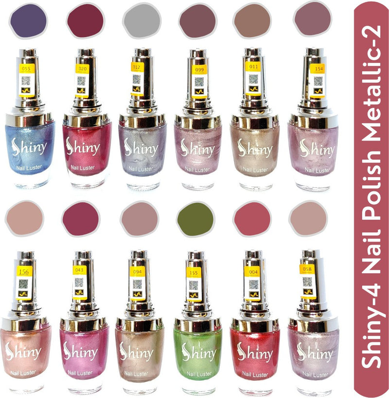 Shop Shiny Mattalic- 2 Nail Polish Shiny-  4 (Pack of 12, 9.9ML Each)