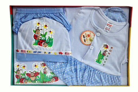 BonFree 100% Cotton New Born Gift Set of 5 Pcs for Girl  0-3 Months