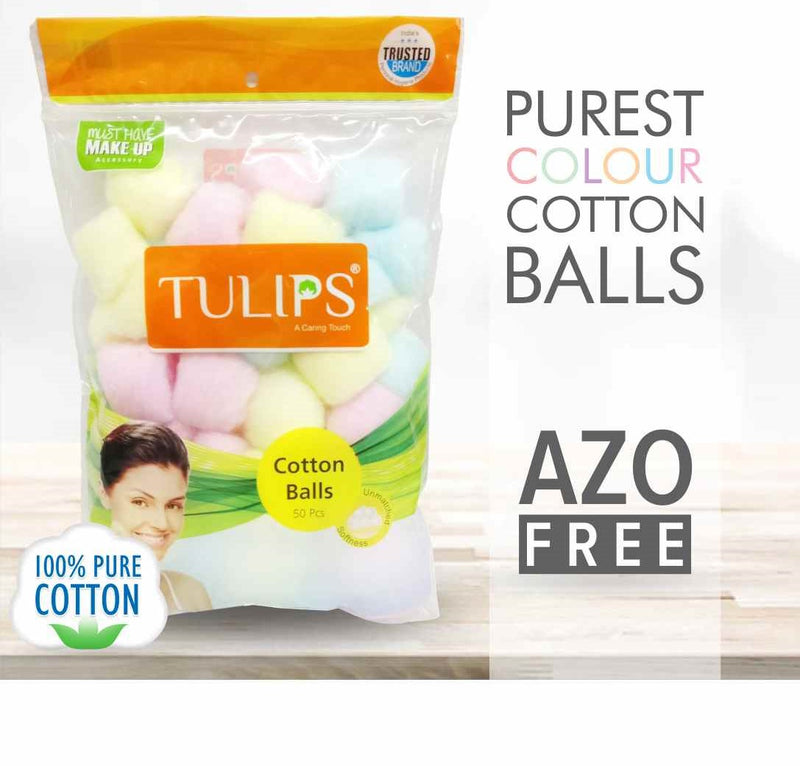 Shop Tulips Cotton Balls Multi Color 50 PCs in a Ziplock Bag