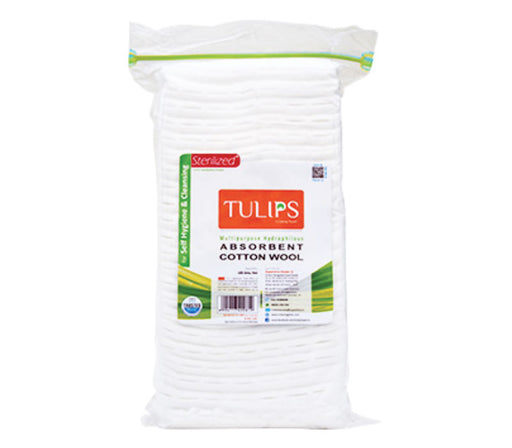 Tulips Absorbent Cotton Pleats in a Ziplock Bag 100GM