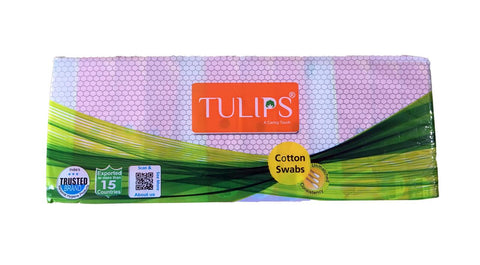 BelleGirl Tulips Cotton Swabs (12 Pkts of 100 Stems (200 Tips)