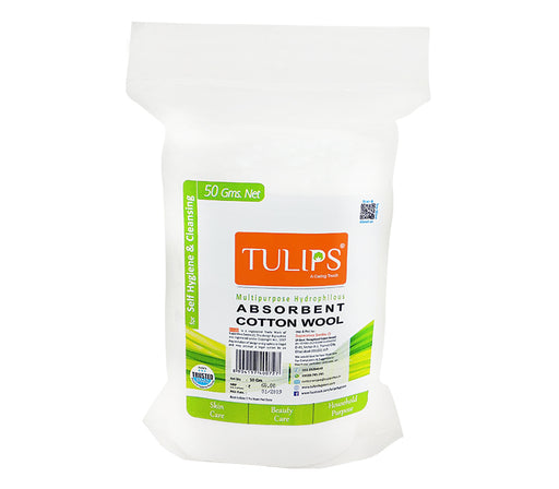 Tulips Absorbent Cotton Wool Roll in a Drawstring Bag