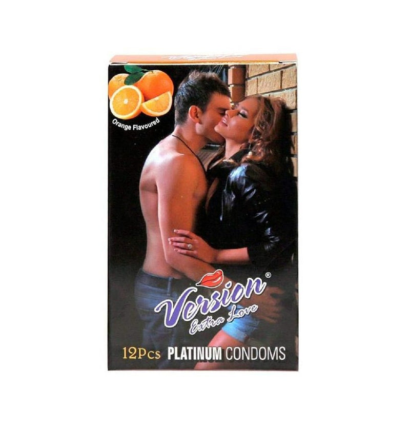 Shop Version Male Condom Extra Love Multi-Textured Orange Flavor