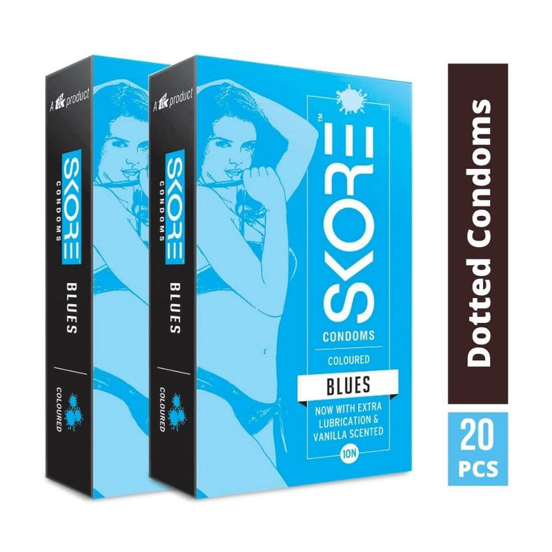 Skore Blues Coloured Condoms with Extra Lubrication 10s