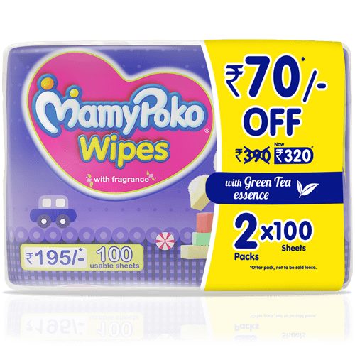 Shop MamyPoko Wipes with green tea essence 100 Sheets