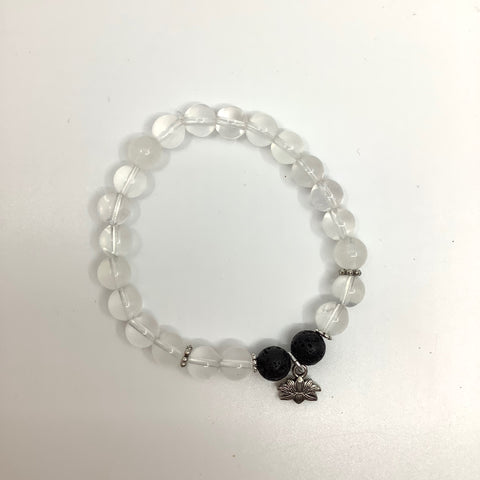 Clear Quartz Lotus Charm Bracelet (silver-plated) with Black Lava Quartz - In Her Shoes YW
