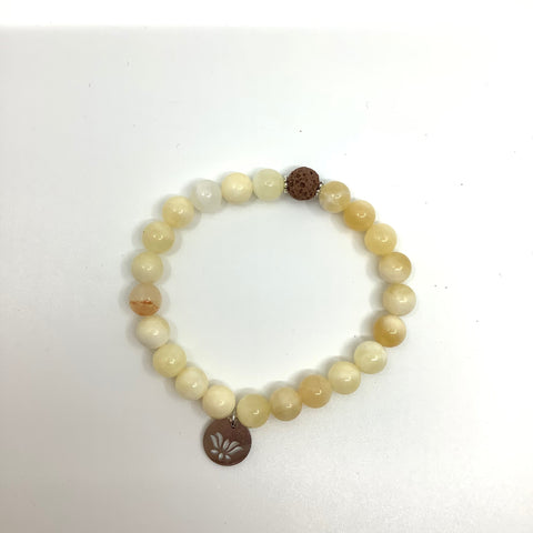 Mother of Pearl Bracelets with Beige Lava and Stainless Steel Lotus Charms - In Her Shoes YW