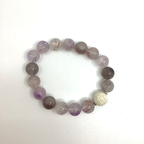 Purple Rutilated Quartz Bracelet with White Lava Rutilated Quartz- In Her Shoes YW
