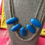 Big Blue Bead and Chain Necklace -  In Her Shoes YW