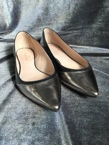 Kate Spade Silver Black Leather Flats Shoes Women -  In Her Shoes YW