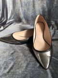 Kate Spade Silver Black Leather Flats Shoes Women -  Kate Spade flats with black leather and metallic silver leather on toes and heel Pointed toe tip Slip on Made in Brazil      Shoe Size: 6.5
