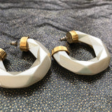 Pearl Coloured Geometric Hoops -  In Her Shoes YW