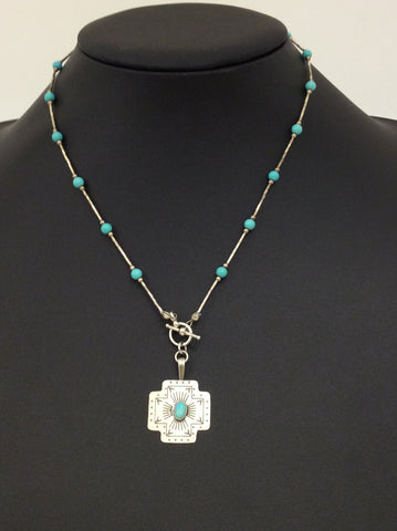 Silver Turquoise with Square Pendant -  In Her Shoes YW