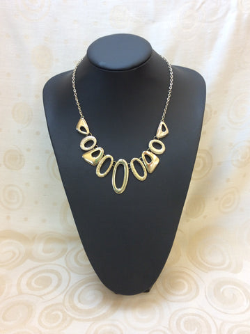 Gold Oval Metal Necklace -  In Her Shoes YW