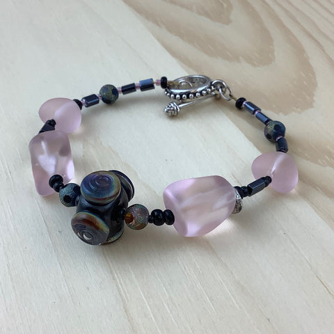 Pink and Black Glass Bracelet -  In Her Shoes YW