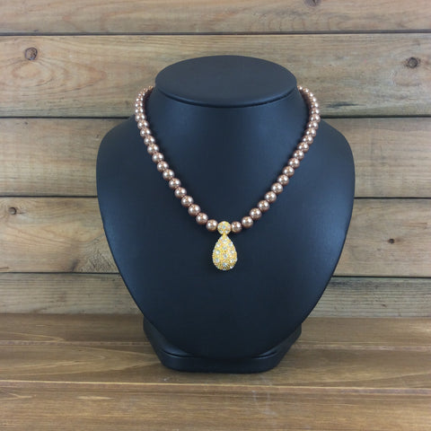 Rose Gold Pearl Necklace with Single Gold Pendant -  In Her Shoes YW