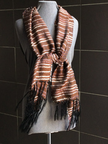 Brown stripped scarf with fringe. Available online or in person at YWCA Kitchener Waterloo Ontario Canada