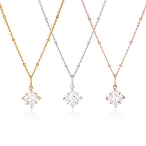 Princess cut CZ diamond pendant on chain