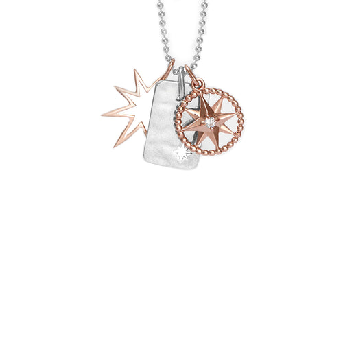 Rose gold star, dog tag disc and star jewel charm pendant set on chain