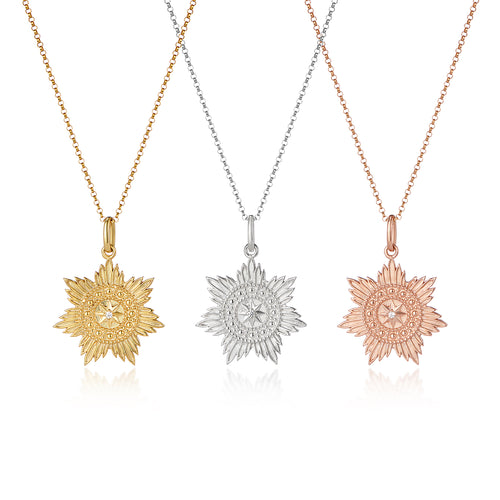 Gold medallion star pendant with chain