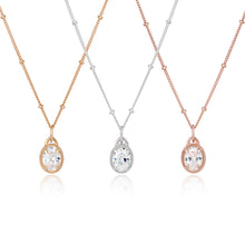 CZ Oval diamond pendant choker on chain