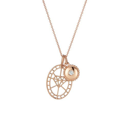 Rose Gold diamond shaped pendant and jewel charm pendant set on chain