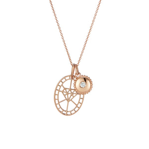 Rose Gold diamond shaped pendant and jewel charm pendant set