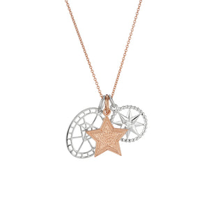 Diamond cut out pendant, Rose gold Star disc and crystal star charm pendant set
