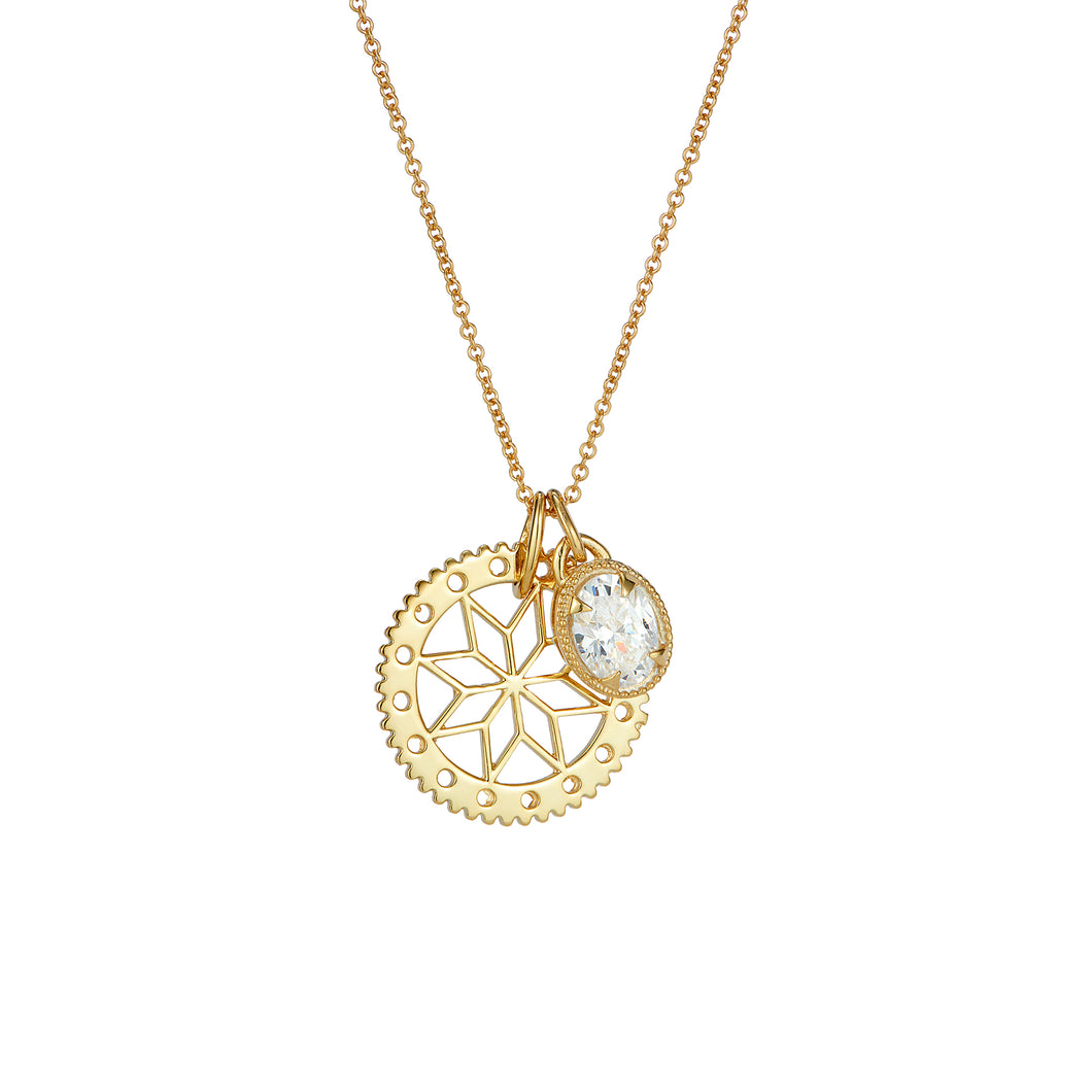 Gold flower pendant and crystal jewel charm pendant set