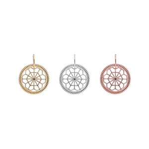 Geometric pendant, engraved gold disc and marquise jewel charm pendant set