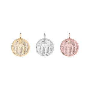 Geometric engraved disc, art deco pendant and crystal jewel charm pendant set