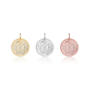 Geometric engraved disc pendant and jewel charm pendant set