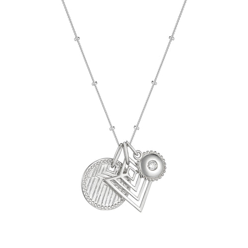 Geometric engraved disc, art deco pendant and crystal jewel charm necklace on chain