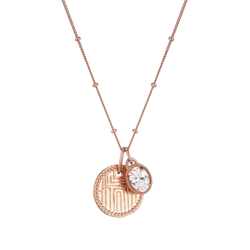 Gold engraved disc pendant and jewel charm necklace on chain