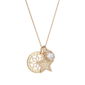 Flower Cut Out disc , engraved star pendant and crystal jewel charm pendant set chain