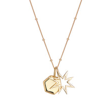 Gold disc hexagon pendant with engraved edge detail in sterling silver , gold or rose gold
