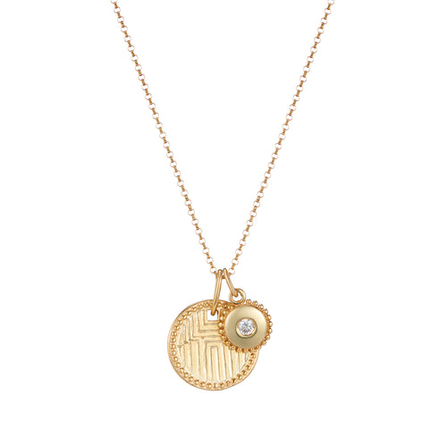 Geometric engraved disc pendant and jewel charm necklace on rolo chain