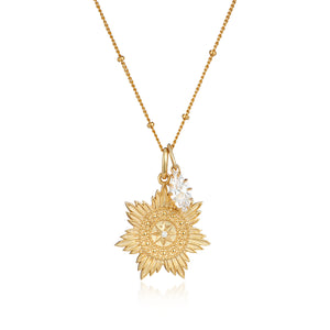 Gold medallion pendant star and cz marquise jewel charm pendant necklace set