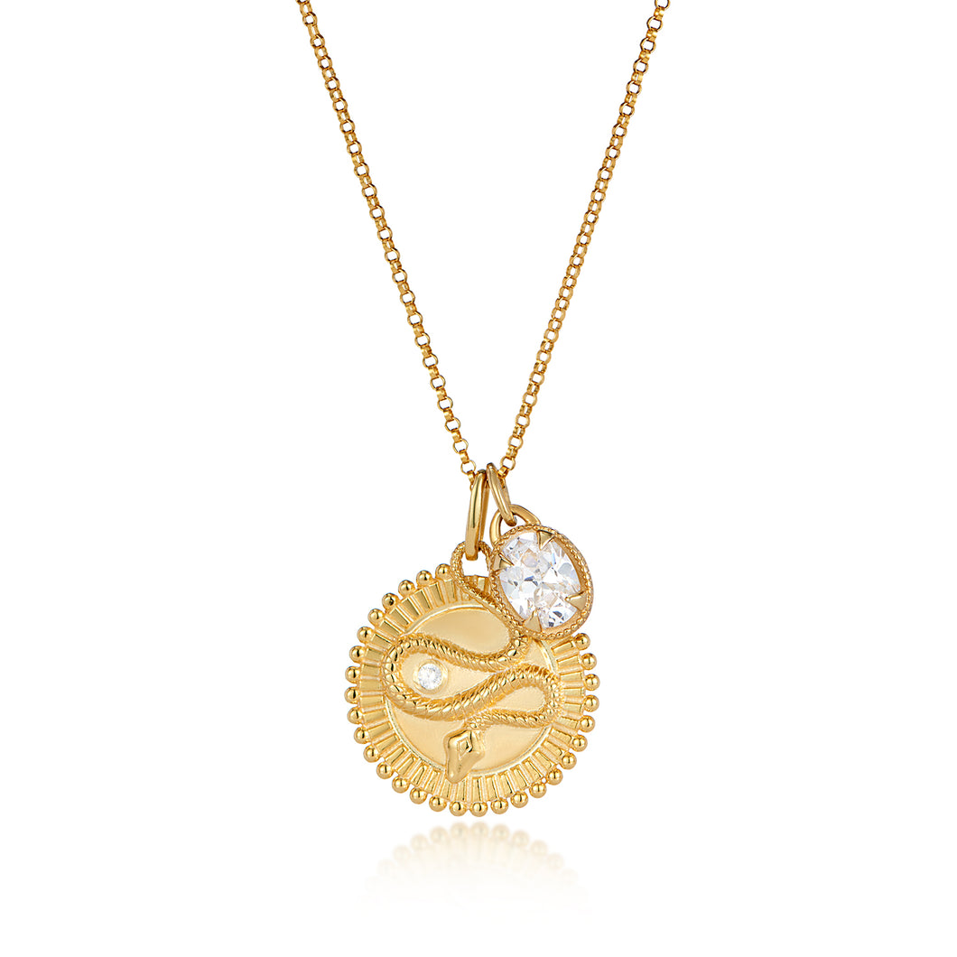 Medallion snake symbol talisman pendant and oval cz diamond charm pendant set