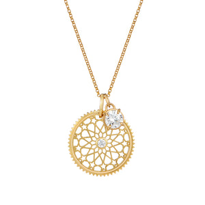 Star cut out filagree medallion pendant and round cz diamond jewel charm pendant set