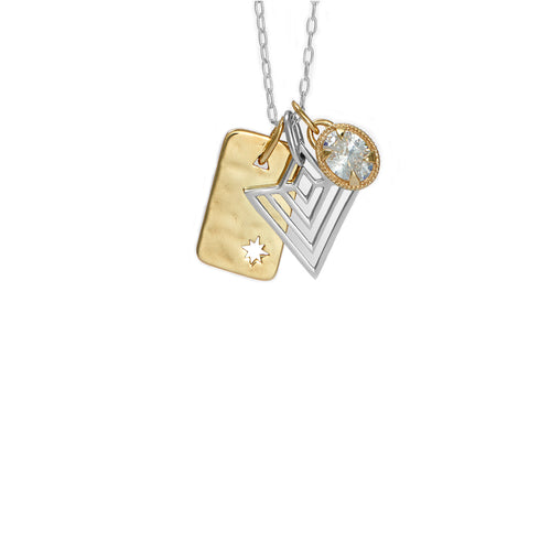Gold dog tag with art deco pendant and jewel charm pendant set