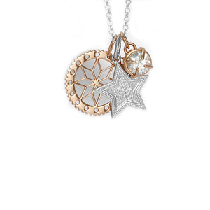 Rose Gold Flower Pendant , engraved star disc and jewel charm pendant set on chain