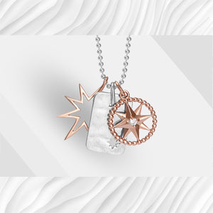 Rose gold star, dog tag disc and star jewel charm pendant set