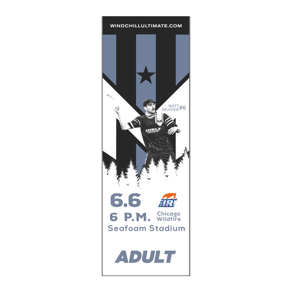 Wind Chill Single Game Tickets - 6/6/20 vs. Chicago Wildfire - Will Call