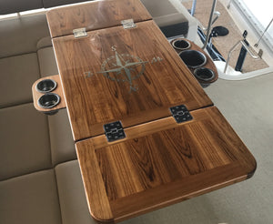 Teak Bridge Table - Sea Ray 400 Fly