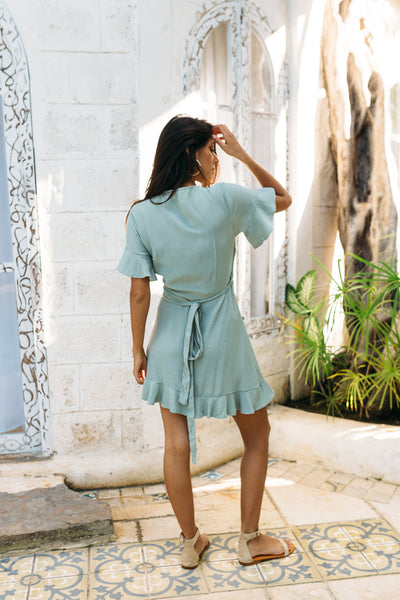 VERONA WRAP DRESS - TEA - Kevore