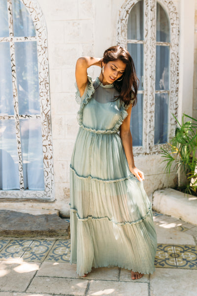 RAVENNA GOWN + SLIP DRESS IN TEA - Kevore