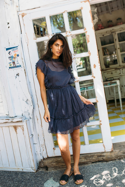RAVENNA DRESS + SLIP DRESS IN PRUSIAN BLUE - Kevore